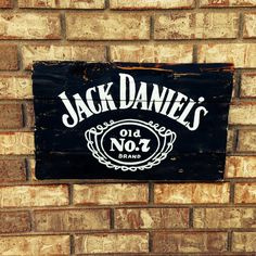 "18"" x 10"" small Jack Daniels wall art, hand painted, recycled wood on Etsy, $48.00"