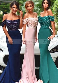 In Hunter or Dark Green (hunter shown right in picture) Chiffon Bridesmaid Dress Sheath/Column Strapless Sweep Train With Sequins