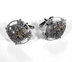 Steampunk Cufflinks Vintage Mens Jeweled Watch Cuff Links Silver LOTUS LEAF Morif  Wedding Grooms - Steampunk Jewelry by edmdesigns. $75.00, via Etsy.