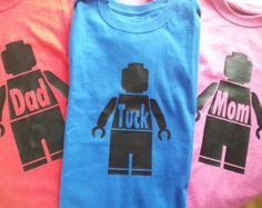 FAMILY package of 4 Personalized Lego person t-shirts Kids Adults sizes short sleeve Lego Movie Awesome Legoland