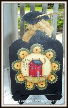 Primitive Penny Rug Saltbox House Wood Plaque Hand Painted Home Decor on Etsy, $15.95
