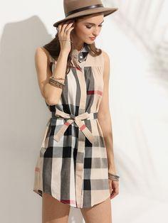 Shop Plaid Stand Collar Self Tie Shirt Dress online. SheIn offers Plaid Stand  Collar Self. Sleeveless DressesBelted ... 5330e3c55