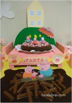 Cumpleaños de peppa pig con cajas de fruta pintadas