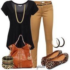 beige pants; black blouse; animal print shoes, beige purse