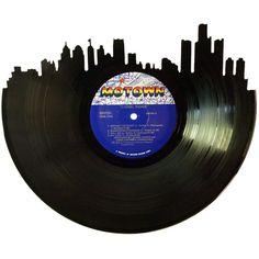Detroit Skyline Silhouette Vinyl Record Wall Art by RecordsRedone