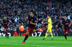 Luis Suarez of FC Barcelona celebrates after scoring his team's second goal from the penalty spot during the La Liga match between FC Barcelona and Villarreal CF at Camp Nou on November 8, 2015 in Barcelona, Catalonia.