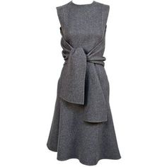 Preowned Celine Grey Cashmere Runway Dress With Knotted 'sleeves' - Fall 2013