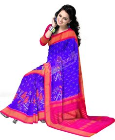 ikat pinc border royal blue color saree