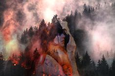 "A small photo manipulation piece I created  with Photoshop using a picture of myself. and of a forest and fire. Inspired by ""The roots of the mountain"" by Enslaved.  Feel the flames... Check my Instagram account @ronjarikissa_art if inspired. <3"