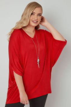 Red V-Neck Oversized Cape Style Jersey Top Top P, Winter 2017, Simple Style, Wardrobe Staples, Cape, Plus Size, V Neck, Autumn, Red