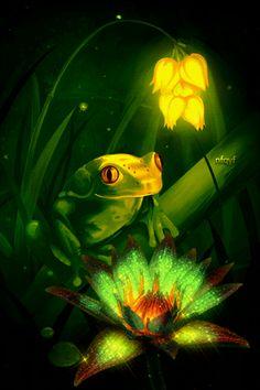 Анимация Лягушонок в ночи сидит на фоне цветов, автор nfqyf