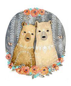 Bear Illustration Art, art pour chambre d'enfant, l'art pour les garçons, art print, Archiv - petit ours Aura et Marlo par Marisa Redondo