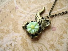 Green Flower Elephant Necklace, Antiqued Bronze Elephant Necklace, Elephant Antiqued Bronze Necklace on Etsy, $12.00