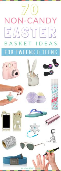 Non Candy Easter Basket Ideas for Tweens and Teens   Includes unique and creative tech gifts, useful items, games, beauty, fashion and more! Great for those hard to buy for teenage girls and boys! Check out the full list at http://whatmomslove.com