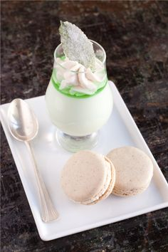 Derby Day! Mint Julep Pannacotta with Bourbon Pecan Macarons. From the Kentucky genius that is The Brave Tart. Yummy
