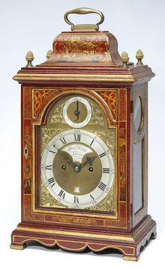 A RED LACQUER BRACKET CLOCK, HENRY KEMP, LONDON  8-day verge movement, double fusee, brass dial, strike silent and matted centres, the red lacquer case with chinoiserie decoration, bell shaped top with brass handle and brass finials, glazed front, back and side panels, bracket feet  52cm high, 27.5cm wide, 18cm deep