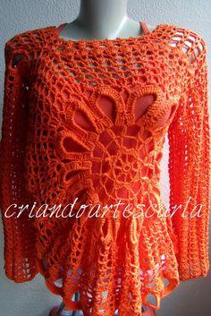 Criando Artes Carla: Blusa em Crochê Ana Maria
