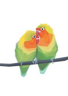 Pair of Love Birds Geometric art Minimal
