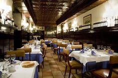 Restaurant El Lando - Madrid, Spain Well known for the deep-fried Galician Potatoes until a creamy sauce forms!