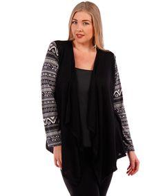 plus size black cardigan with printed sleeves #plussizetops #plussizecardigan #plussizefashion