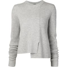 Light grey wool-cashmere blend sweater from Proenza Schouler featuring a ribbed design, a crew neck, long sleeves and an asymmetric hem.