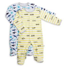 Rosie Pope® 2-Pack Summer Boy Footie in White/Yellow/Blue - buybuyBaby.com