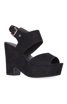 Sapatos de plataforma dividida preto