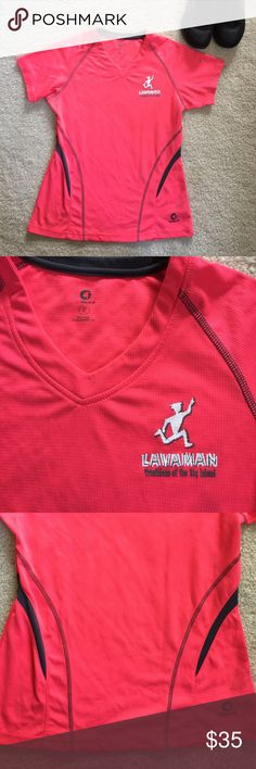 🆕Authentic LAVAMAN Triathlon Women's Athletic Top This is the Real Deal! I live in Hawaii 🌴🏃🏽‍♀️ Gorgeous Coral color with Charcoal trim, this top is an Amazingly comfortable, perspiration wicking V neck Athletic top worn by Pro Athletes! Sz L can Also be worn by a Med or even a Small. Worn once and washed. In Excellent Condition! 🏃🏽‍♀️ GREENLAYER Tops