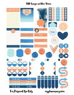 My Planner Envy: Orange & Blue Sticker Sheet Sampler - Free Planner Printable