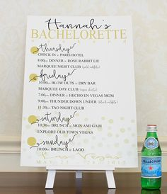 Planning a Bachelorette Party?  Check out this Confetti Bachelorette Itinerary Poster. Destination Bachelorette Party Decorations Personalized Hen Party Keepsake. Bach Weekend Agenda Sign. Bachelorette Party Ideas