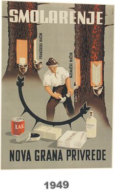 """Poster for a new branch of the economy - """"Work with pitch"""", 1949; author Zvonimir Faist. The first five-year development plan of former country accelerated development of industrial production for the period 1947 - 1951. Poster show benefits and products on basis pitch tar:  turpentine, paper, soap, shoe polish, varnish, etc. Source: Zvonimir Faist, The dictates of the time, posters from the late 1930s to 1960s, exhibition catalog, Zagreb City Museum"""