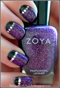 Zoya Nail Polish in Storm and Aurora with half moon glitter from Pamper with Polish