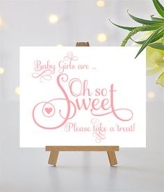 For your convenience, this listing is for the digital download of both pdf and jpg files for the creation of your 8 x 10 Baby Girls are Oh So Sweet baby shower sign shown above. Ever After font in ballet slipper pink. The file is non-editable. This card is 8 x 10 finished size after trimming and meant to be put in a table top frame or on a small easel or another style of table card holder. Download and save the file to your computer. Print on 8.5 x 11 card stock (80 to 100 lb bond is recom...