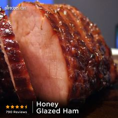 This is mouth-wateringly delicious! (Line the pan with a LOT of foil—you will have a honey of a mess if you don't.) —JUSTJEN33 | Repin Honey-Glazed Ham http://allrecipes.com/video/880/honey-glazed-ham/detail.aspx?lnkid=7171