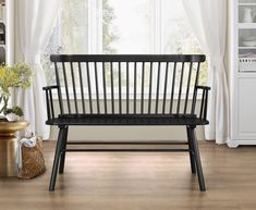 Shop Crown Mark Jerimiah Black Spindleback Bench with great price, The Classy Home Furniture has the best selection of Dining Benches to choose from Modern Entryway, Entryway Decor, Entryway Ideas, Foyer Furniture, Concrete Furniture, Hallway Ideas, Black Furniture, Garden Furniture, Wood