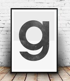 Lettre impression affiche type, affiche de typographie, Alphabet, Home décor noir et blanc, design scandinave, art pariétal, impressions de mur, imprimer Mots