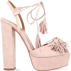 AQUAZZURA Wild one plateau 140 suede heeled sandals (1,015 CAD) ❤ liked on Polyvore featuring shoes, sandals, heels, pale pink, slingback sandals, ankle strap sandals, heeled sandals, ankle strap heel sandals and platform heel sandals