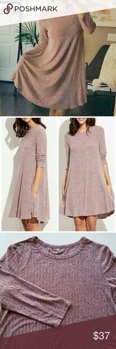 """Marbled Knit Ribbed Swing Dress Marbled Knit Ribbed Swing Dress  *Round neck / Two functional pockets / Soft and Flowy fabric  *33% polyester / 5% spandex / 62% rayon  *Size small - fits US 0-2 / Pit to pit : 16.5"""" flat / Length : 34.6"""" *Size Medium - fits US 4-6 / Pit to pit : 17.2"""" flat / Length : 35"""" *Size Large - fits US 8-10 / Pit to pit : 18.1"""" flat / Length : 35.4""""  *New boutique item - No tags  *No trade shop_terracotta Dresses"""