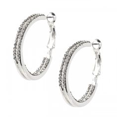 Looking for gift ideas? Get her something she will love! #fashionjewelry #giftgiver #share Silver Crystal 2 Strand Rhinestones Hook Dangle Earrings
