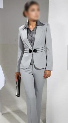 Here's a more stylish light gray suit outfit.