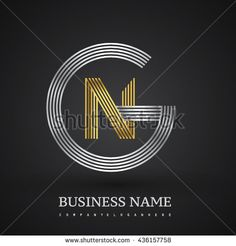 Letter GN or NG linked logo design circle G shape. Elegant silver and gold colored letter symbol. Vector logo design template elements for company identity.