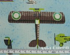 Airplane take off   blue  half yard  cotton by AsiaQueencottonshop, $6.00