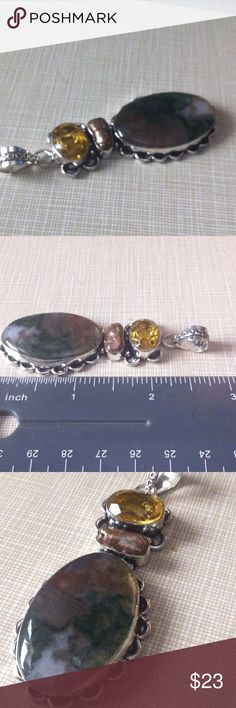 Moss Agate and Citrine & Biwa pearl silver pendant Silver inlay around 3' long very earthy pretty pendant NWOT earrings are stamped 925 natural citrine approximately 1'1/4 long also free 925 chain with purchase Jewelry Necklaces