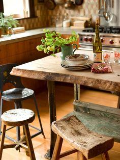 Así era la mesa y bancos de mi abuela♡