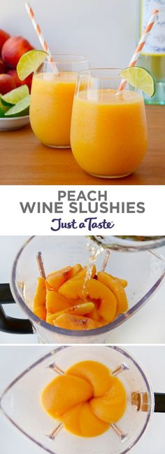 Peach Wine Slushies recipe from justataste.com   Add a refreshing twist to your summer sip with a recipe for the best peach wine slushies made with any variety of white or rosé wine! @justataste #recipe #wine #summer