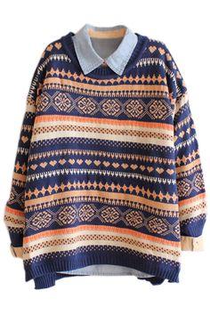 ROMWE Snowflake & Heart Knitted Long Sleeves Navy Jumper 19.99