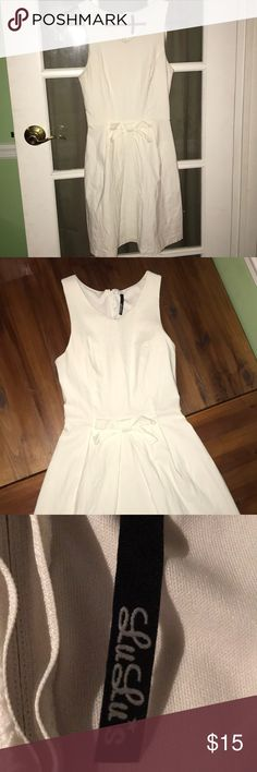 White Dress Dress from Lulu's worn once. I'm 5' and it it's just below my knee. Was hoping for something shorter so that's why I'm selling it!  Rayon/Nylon/Spandex Lulu's Dresses