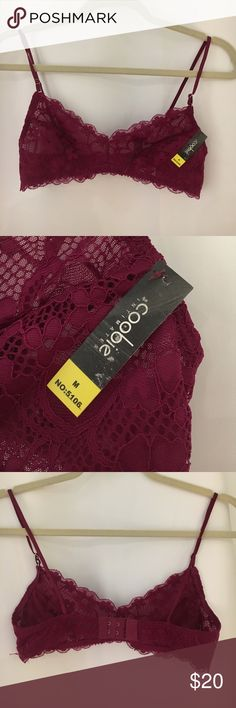NWT Medium Red Bralette Cute lace bralette. Brand new with tags. Measures 26 inches around on the widest clasp. coobie Intimates & Sleepwear Bras