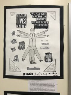 """8th Grade, OMS Student, Remixed """"The Vitruvian Man"""" with a modern twist about a topic that is important to her, which was the Black Lives Matter Movement"""