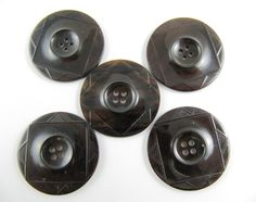 Vintage Art Deco Lot of 5 Dark Brown Carved Bakelite Buttons * 34 mm *** # B-130 by TheTreasureBoxOrna on Etsy